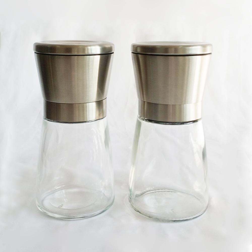 Hot sale amazon glass pepper mill set