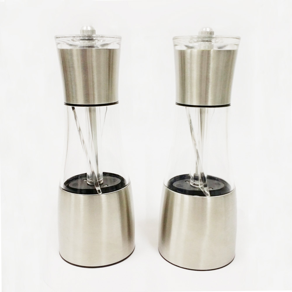 2 in 1 stainless steel combined salt and pepper mill