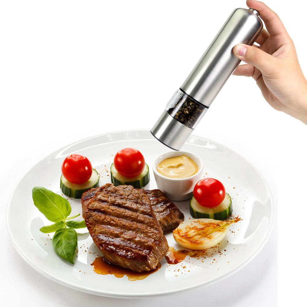 battery operated electric stainless steel salt pepper grinder