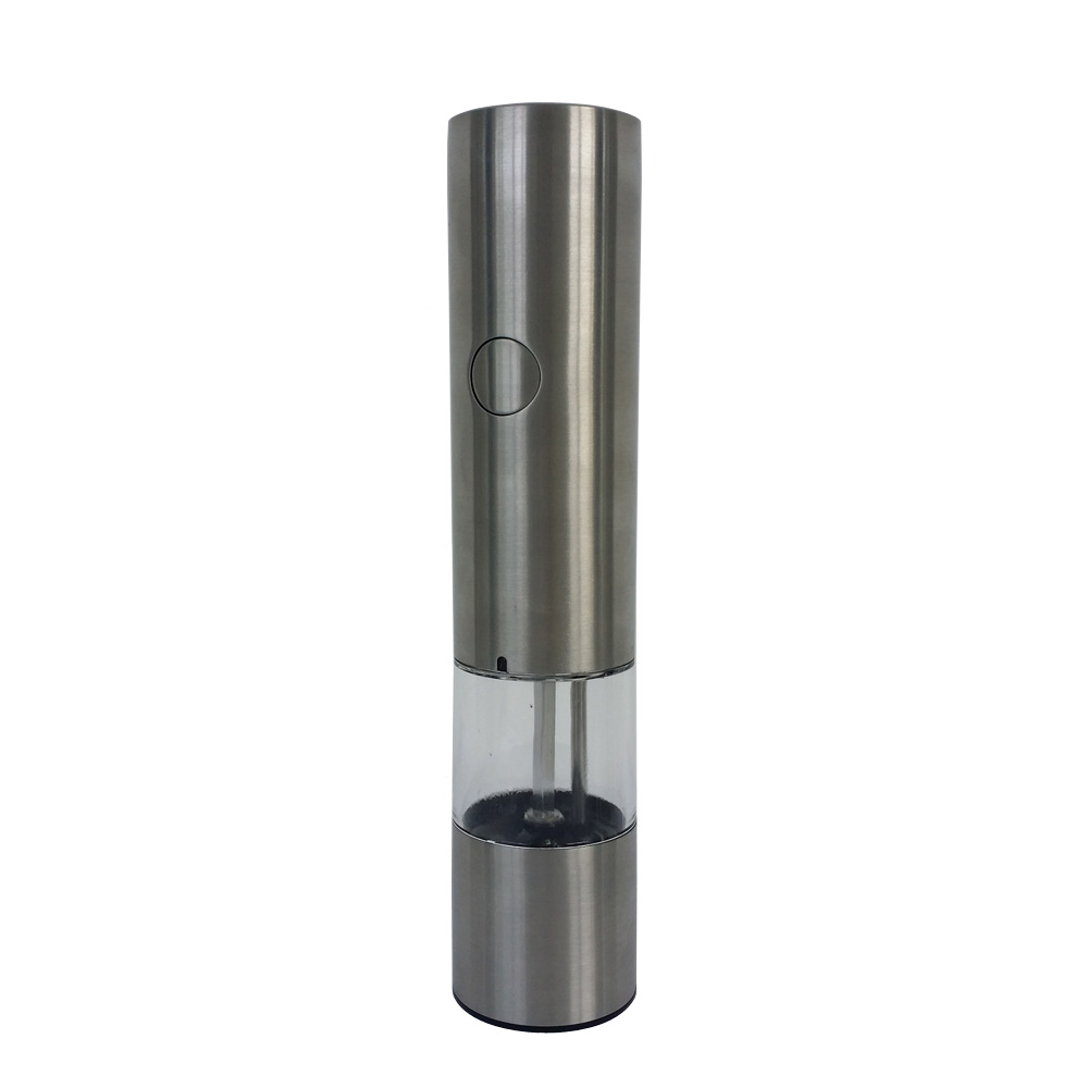 tall stainless steel electric electric salt and pepper mills with light