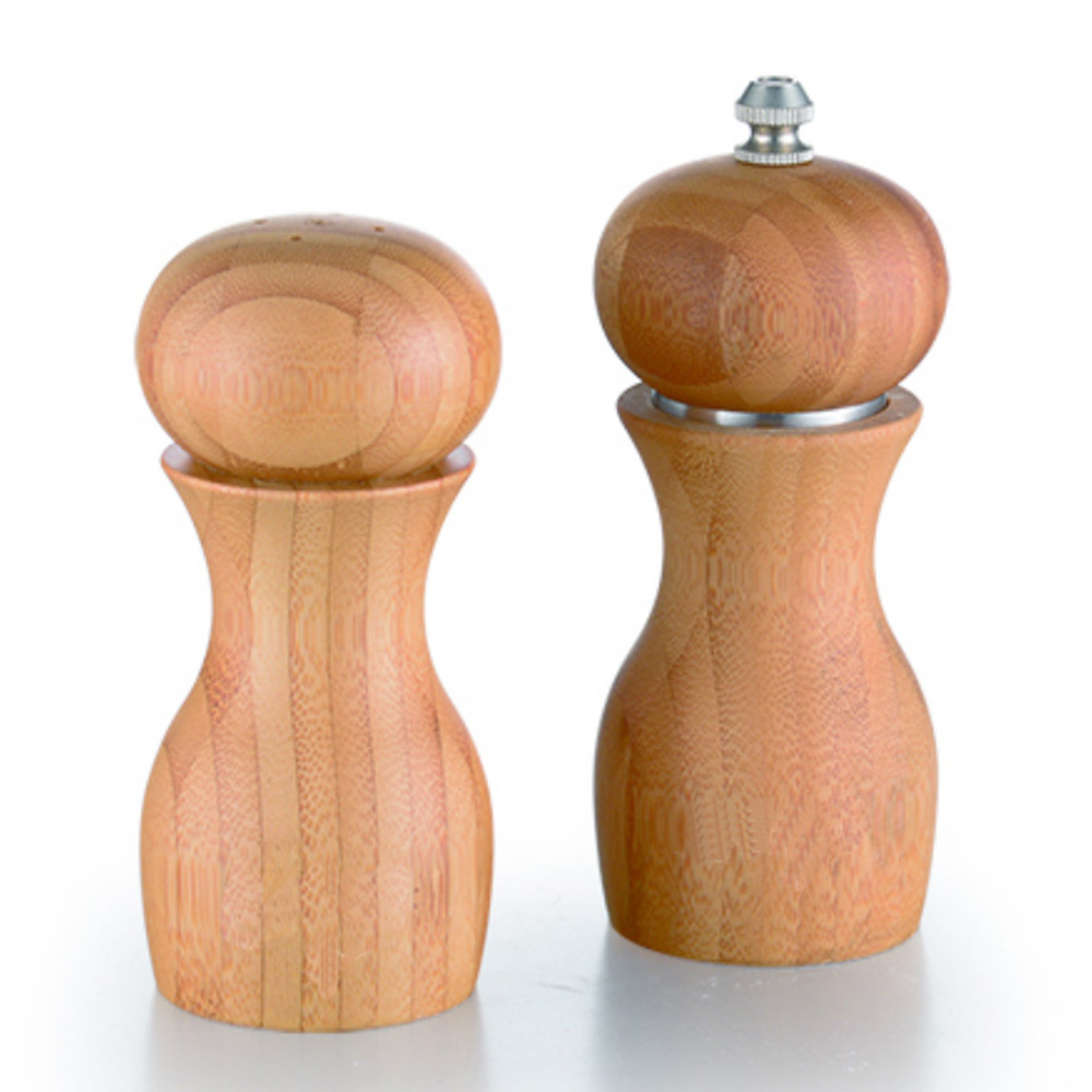 bamboo pepper grinder and salt shaker set