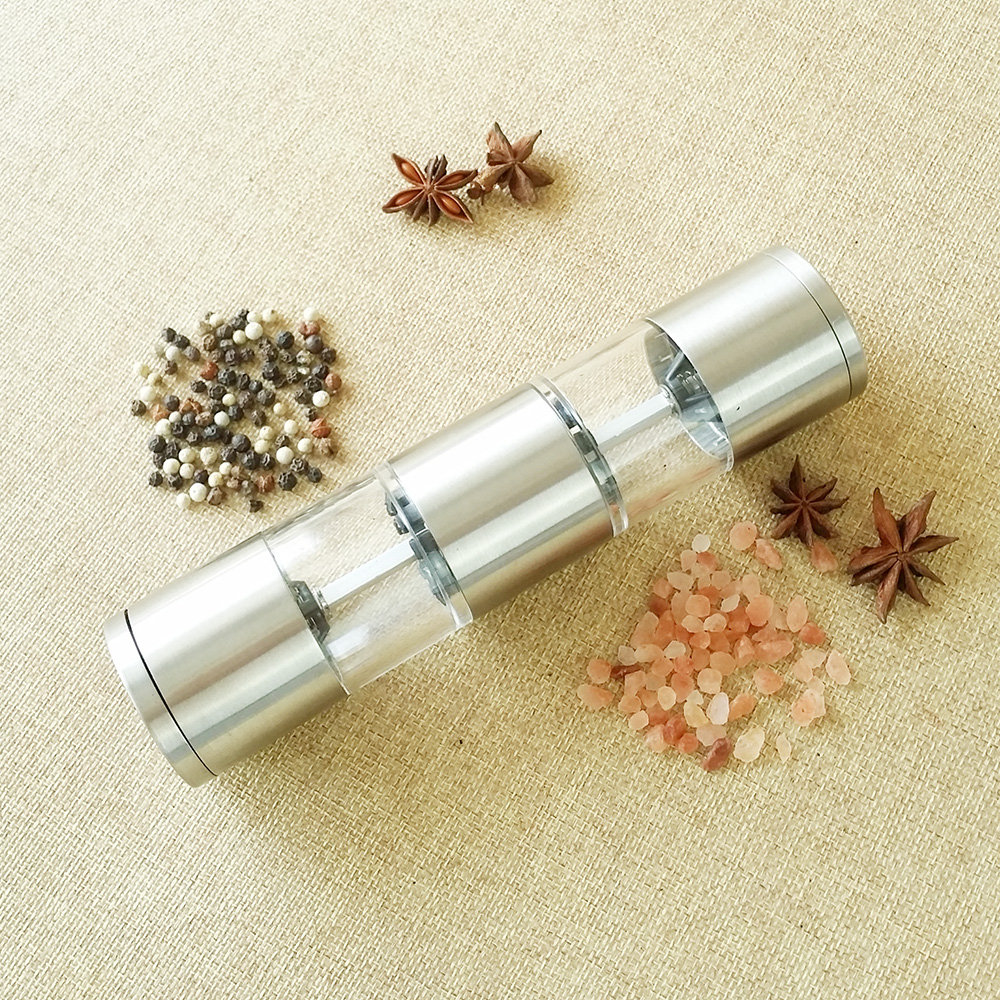 manual stainless steel 2 in 1 salt and pepper mill set