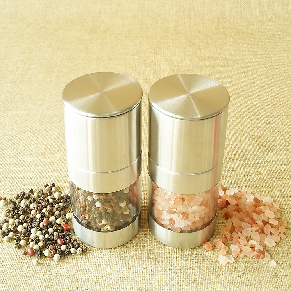 wholesale stainless steel manual black pepper grinder set