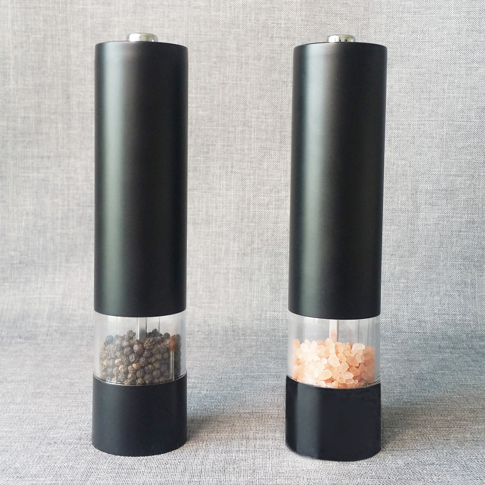 stainless steel battery operated pepper grinder with light