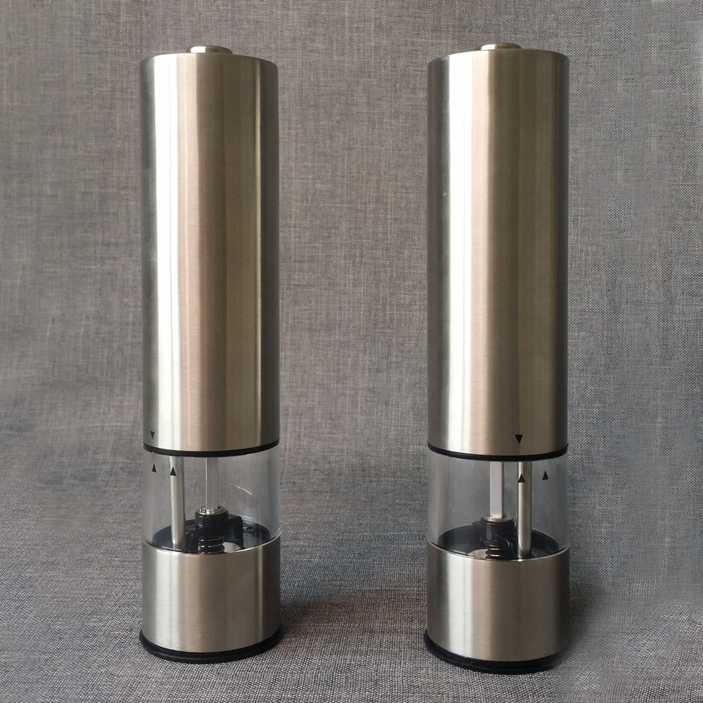 battery powered salt and pepper grinders set with light