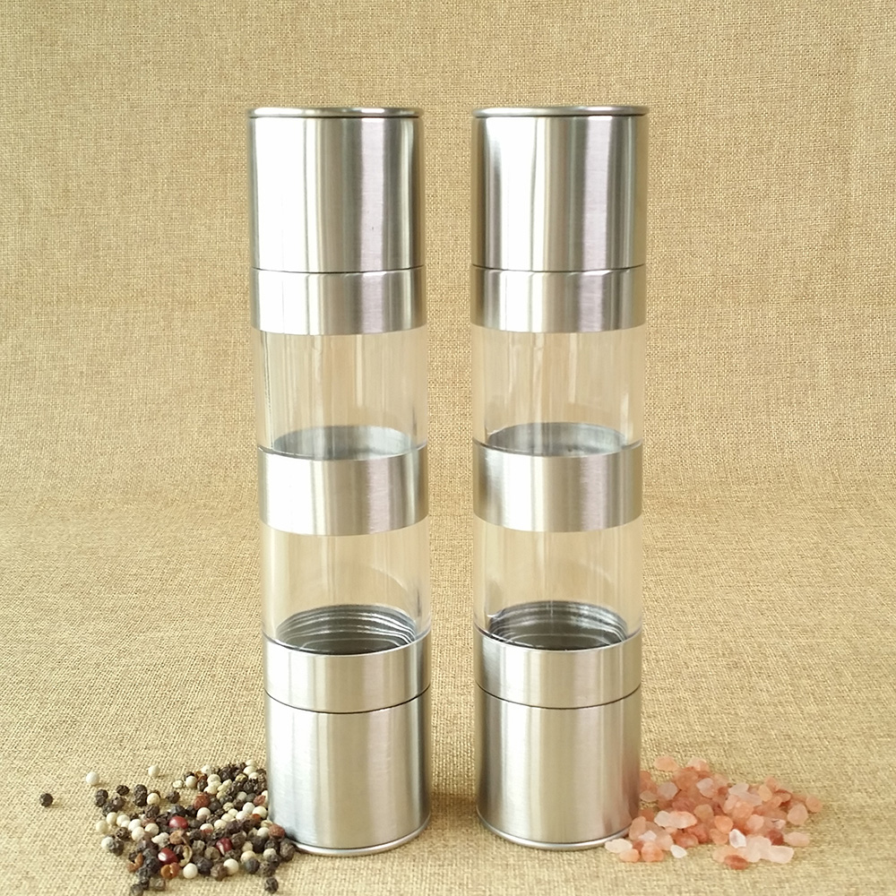 2 dentro 1 sal de aço inoxidável e pimenta moedores definir