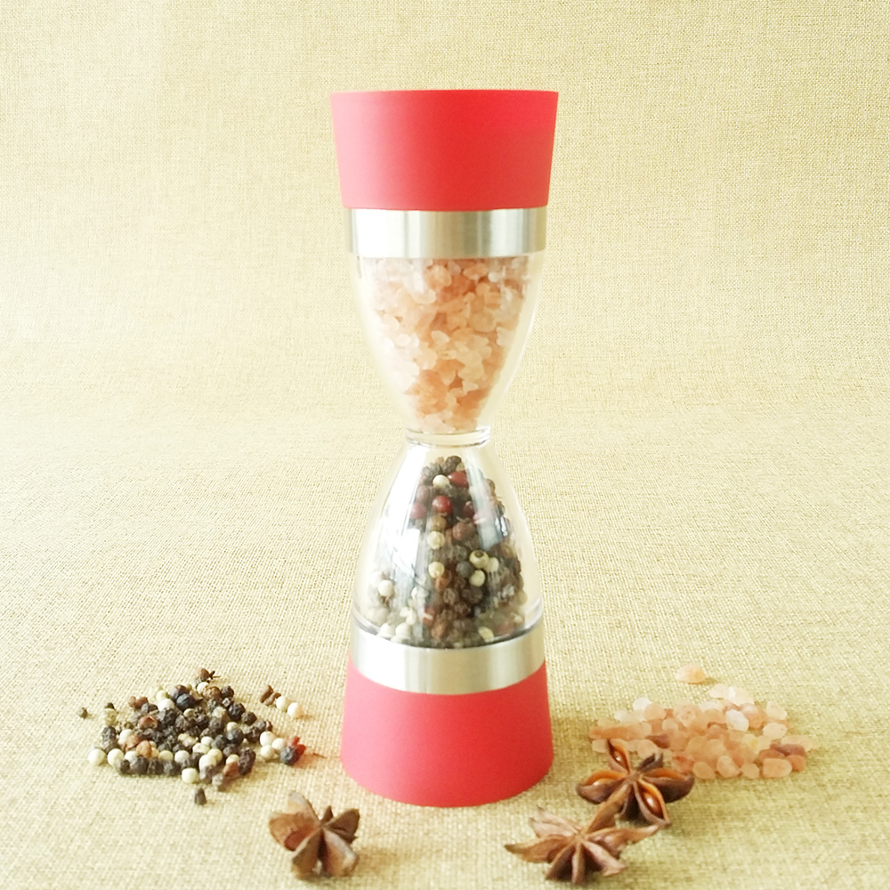 2 in 1 manual plastic salt & pepper grinders set